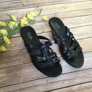 Clark's Black Leather Sandals
